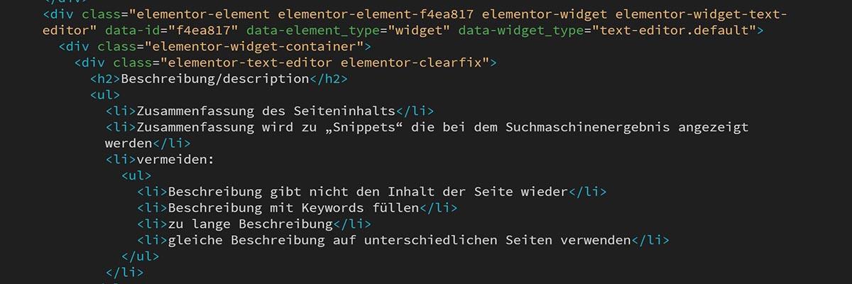 html-Code Slider Grundlagen SEO Online on Tenerife